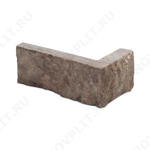 """Угловой камень """"Полоска"""" доломит бурый """"серо-малиновый"""" - 40хПогон мм, шуба, пиленый с 5 сторон"""