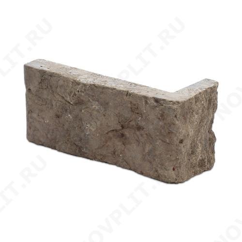 """Угловой камень """"Полоска"""" доломит бурый """"серо-малиновый"""" - 60хПогон мм, шуба, пиленый с 5 сторон"""