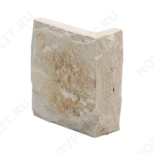 """Угловой камень """"Плитка"""" доломит бежевый - 100хПогон мм, со сколом, пиленый с 5 сторон"""