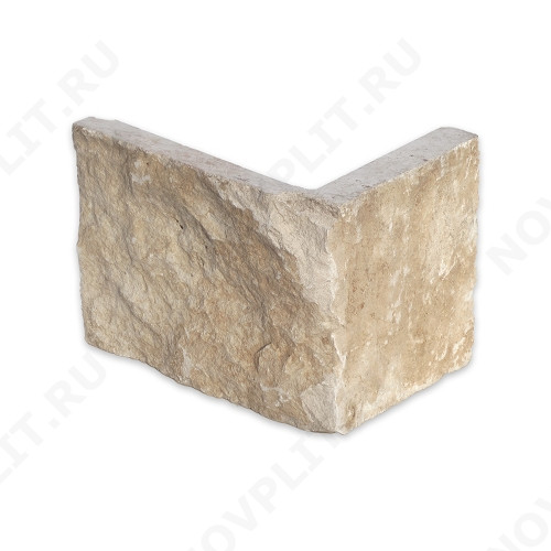 """Угловой камень """"Плитка"""" доломит бежевый - 200хПогон мм, шуба, пиленый с 5 сторон"""