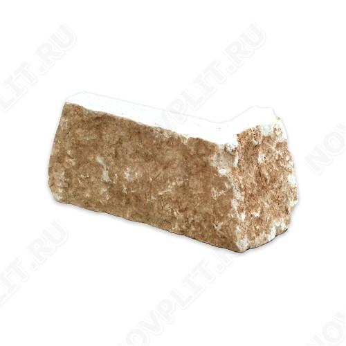 """Угловой камень """"Стрелки"""" доломит бежевый - 60хПогон мм, шуба, пиленый с 3 сторон"""