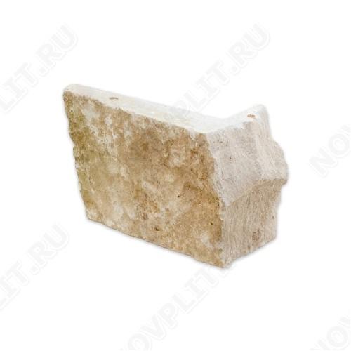 """Угловой камень """"Стрелки"""" доломит бежевый - 90хПогон мм, шуба, пиленый с 3 сторон"""