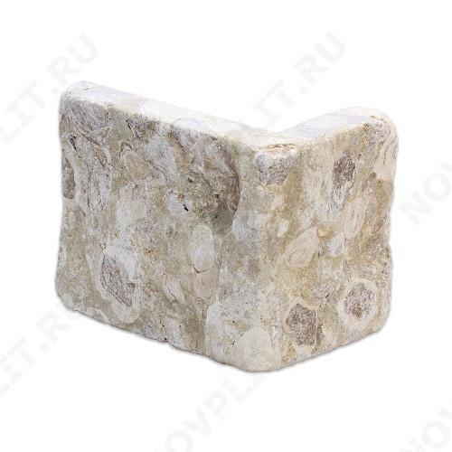 """Угловой камень """"Плитка"""" доломит светло-серый """"мустанг"""" - 100хПогонх20 мм, шуба, галтованный, пиленый с 5 сторон"""