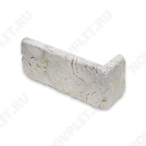 """Угловой камень """"Кирпич"""" доломит светло-серый """"мустанг"""" - 60х(50+150)х15 мм, галтованный, пиленый с 6 сторон"""