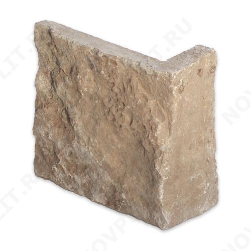 """Угловой камень """"Плитка"""" доломит кофейный - 150хПогон мм, шуба, пиленый с 5 сторон"""