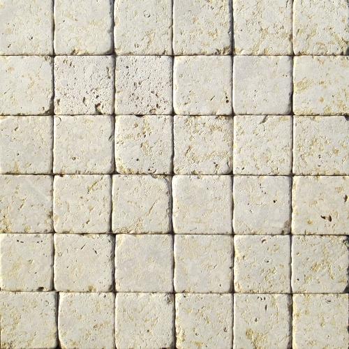 """Камень для пола """"Квадрат"""" доломит серый с желтым - 100х100х20 мм, галтованный, пиленый с 6 сторон"""