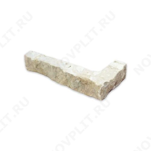 """Угловой камень """"Стрелки"""" доломит серый с желтым - 30хПогон мм, шуба, пиленый с 3 сторон"""
