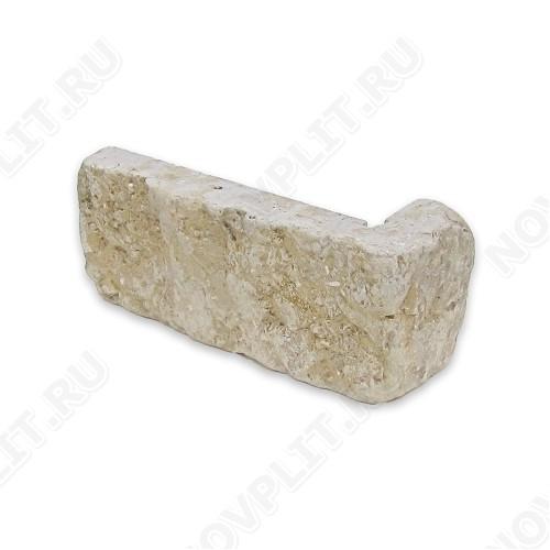 """Угловой камень """"Кирпич"""" доломит серый с желтым - 60х(50+150) мм, шуба, галтованный, пиленый с 5 сторон"""