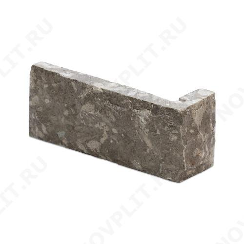 """Угловой камень """"Кирпич"""" доломит серый - 60х(50+150) мм, со сколом, пиленый с 5 сторон"""
