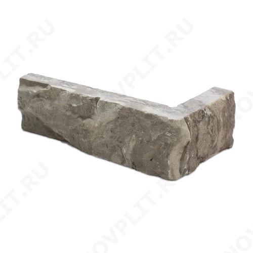 """Угловой камень """"Полоска"""" доломит серый - 50хПогон мм, шуба, пиленый с 5 сторон"""
