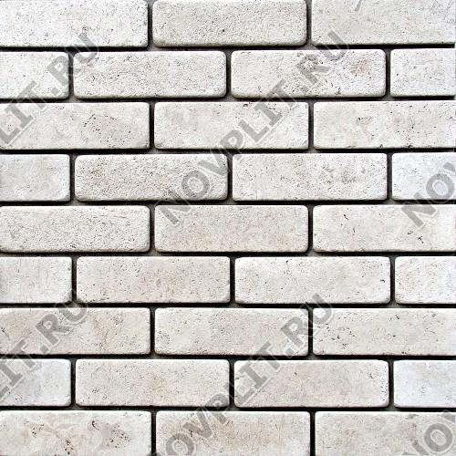 Камень под кирпич доломит белый с бежевым - 60х200х15 мм, галтованный, пиленый с 6 сторон