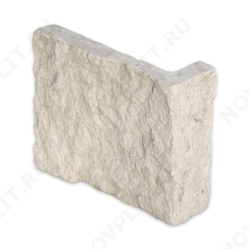 """Угловой камень """"Плитка"""" доломит белый с бежевым - 100хПогон мм, шуба, пиленый с 5 сторон"""