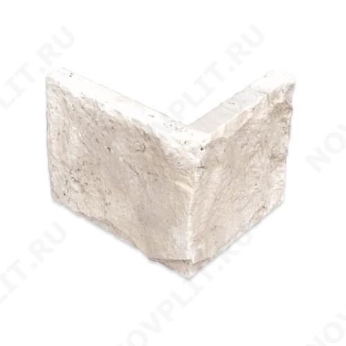 """Угловой камень """"Плитка"""" доломит белый с бежевым - 200хПогон мм, со сколом, пиленый с 5 сторон"""