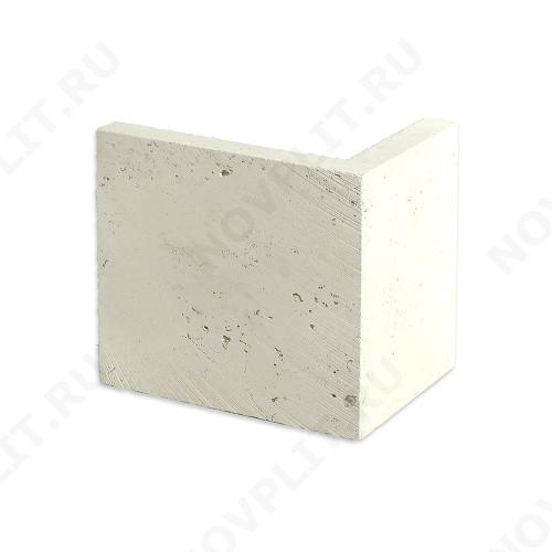"""Угловой камень """"Плитка"""" доломит белый с бежевым - 200хПогонх20 мм, шлифованный, пиленый с 6 сторон"""