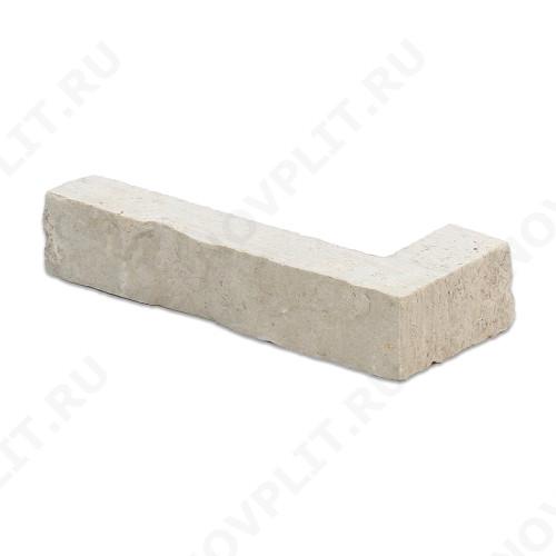 """Угловой камень """"Полоска"""" доломит белый с бежевым - 30хПогон мм, шуба, пиленый с 5 сторон"""