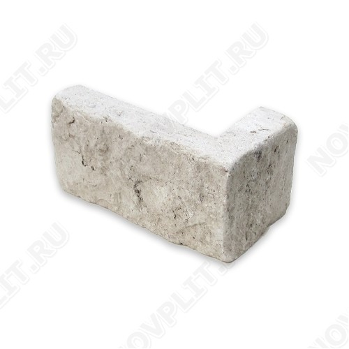 """Угловой камень """"Кирпич"""" доломит белый с бежевым - 60х(50+150) мм, шуба, галтованный, пиленый с 5 сторон"""