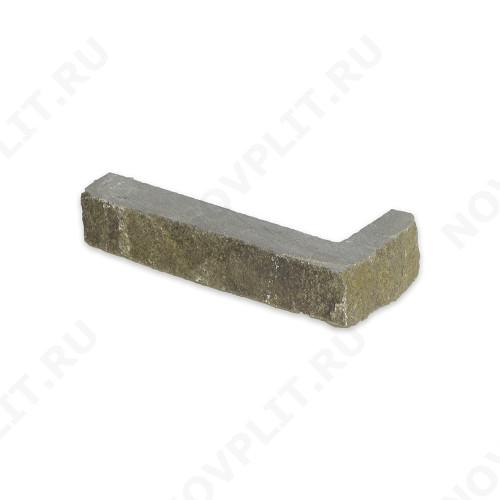 """Угловой камень """"Полоска"""" песчаник серо-зеленый - 30хПогон мм, шуба, пиленый с 5 сторон"""