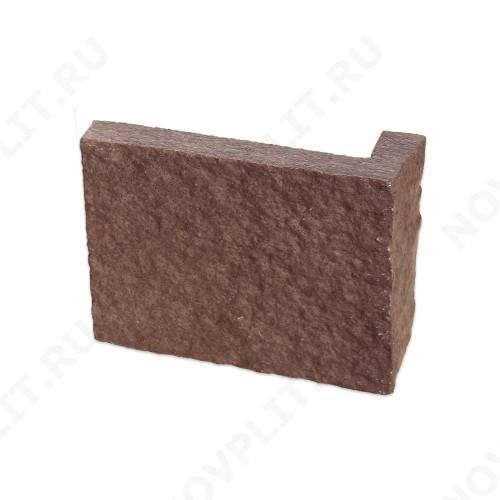 """Угловой камень """"Плитка"""" лемезит бордовый - 200хПогон мм, шуба, пиленый с 5 сторон"""