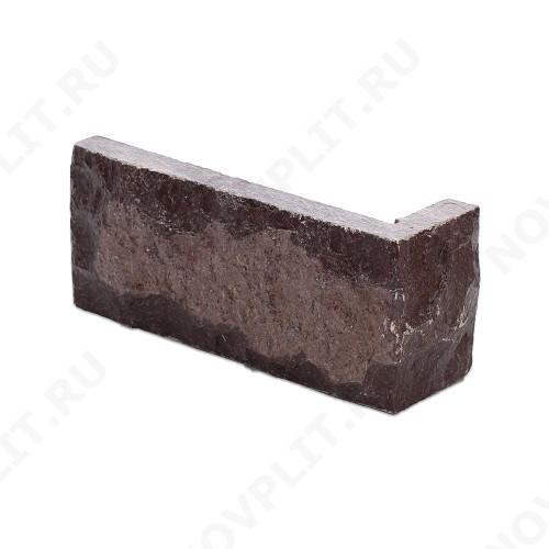 """Угловой камень """"Кирпич"""" лемезит бордовый - 60х(50+150) мм, со сколом, пиленый с 5 сторон"""