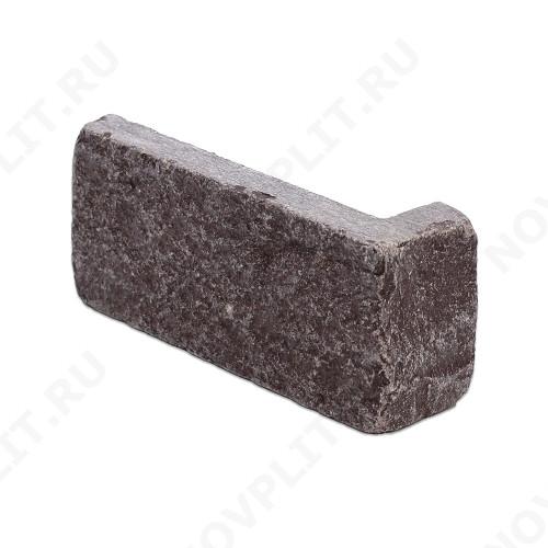 """Угловой камень """"Кирпич"""" лемезит бордовый - 60х(50+150) мм, шуба, галтованный, пиленый с 5 сторон"""