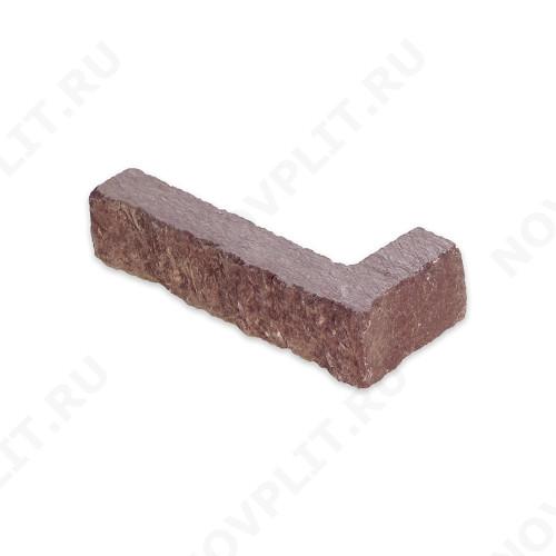 """Угловой камень """"Полоска"""" лемезит бордовый - 30хПогон мм, шуба, пиленый с 5 сторон"""