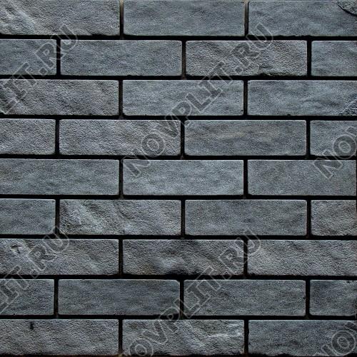 Камень под кирпич шунгит тёмно-серый (чёрный) - 60х200 мм, шуба, галтованный, пиленый с 5 сторон