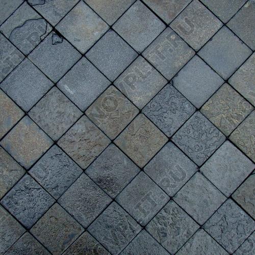 """Брусчатка """"Квадрат"""" шунгит тёмно-серый (чёрный) - 100х100х40 мм, шуба, галтованный, пиленый с 5 сторон"""