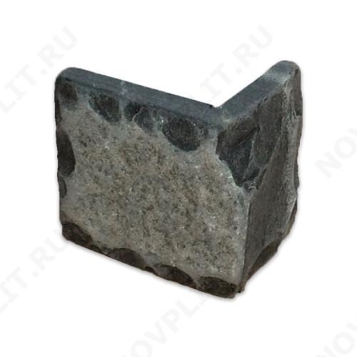 """Угловой камень """"Плитка"""" шунгит тёмно-серый (чёрный) - 150хПогон мм, со сколом, пиленый с 5 сторон"""