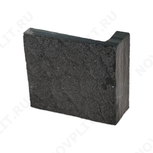 """Угловой камень """"Плитка"""" шунгит тёмно-серый (чёрный) - 200хПогон мм, шуба, пиленый с 5 сторон"""