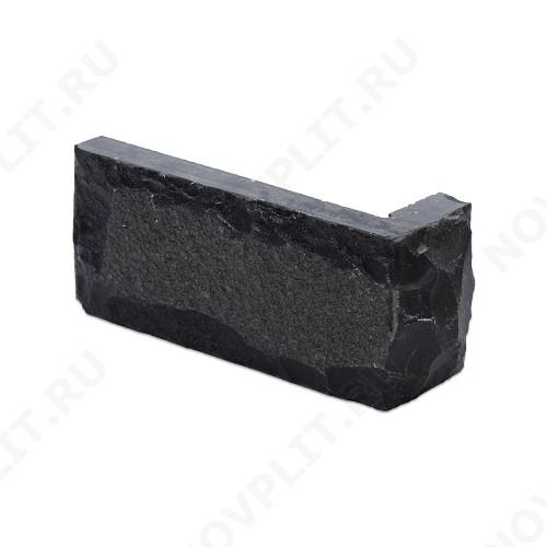 """Угловой камень """"Кирпич"""" шунгит тёмно-серый (чёрный) - 60х(50+150) мм, со сколом, пиленый с 5 сторон"""