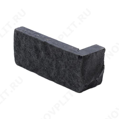 """Угловой камень """"Кирпич"""" шунгит тёмно-серый (чёрный) - 60х(50+150) мм, шуба, галтованный, пиленый с 5 сторон"""