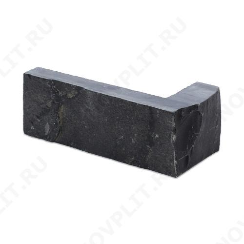 """Угловой камень """"Полоска"""" шунгит тёмно-серый (чёрный) - 50хПогон мм, шуба, пиленый с 5 сторон"""