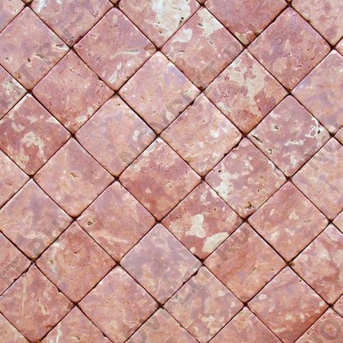 """Брусчатка """"Квадрат"""" доломит малиновый с розовым - 50х50х40 мм, галтованный, пиленый с 6 сторон"""