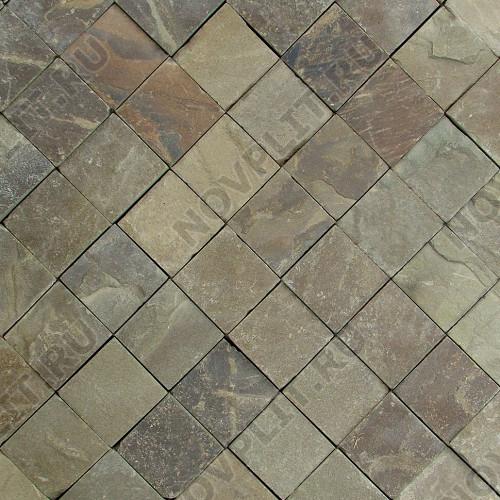 "Брусчатка ""Квадрат"" песчаник серо-зеленый - 100х100х50 мм, шуба, пиленый с 4 сторон"