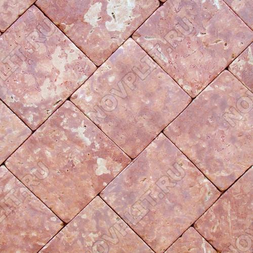 """Брусчатка """"Квадрат"""" доломит малиновый с розовым - 200х200х40 мм, галтованный, пиленый с 6 сторон"""