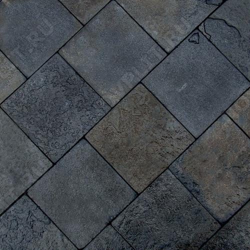 """Брусчатка """"Квадрат"""" шунгит тёмно-серый (чёрный) - 200х200х50 мм, шуба, галтованный, пиленый с 5 сторон"""