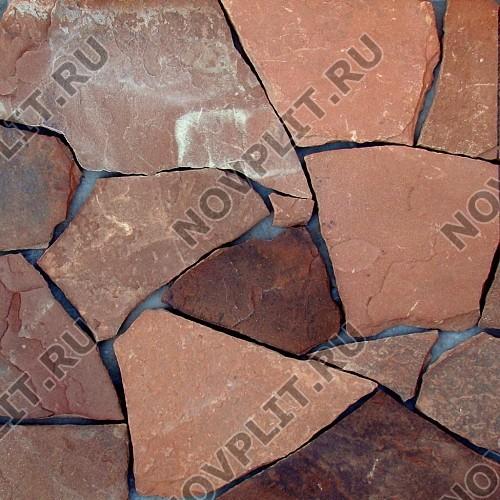 """Дикий камень """"Плитняк"""" песчаник терракотовый """"красный"""" - 20 мм, шуба, необработанный"""