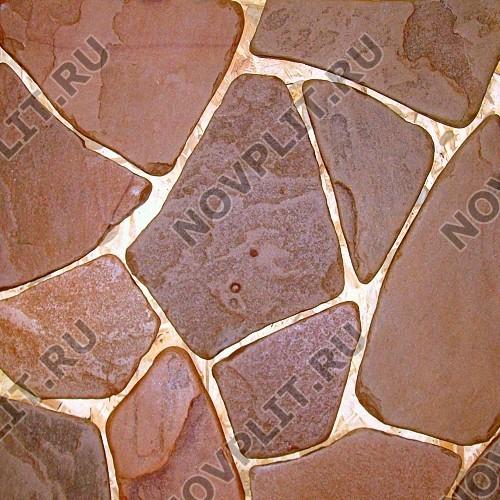 """Галтованный плитняк песчаник терракотовый """"красный"""" - 20 мм, шуба, галтованный, необработанный"""