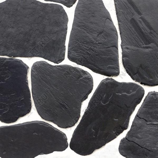 Галтованный плитняк шунгит тёмно-серый (чёрный) - 40 мм, шуба, галтованный, необработанный