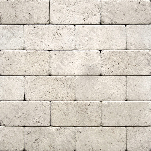 """Камень для пола """"Кирпич"""" доломит белый с бежевым - 100х50х20 мм, галтованный, пиленый с 6 сторон"""