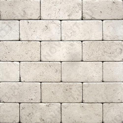 """Камень для пола """"Кирпич"""" доломит белый с бежевым - 300х150х20 мм, галтованный, пиленый с 6 сторон"""