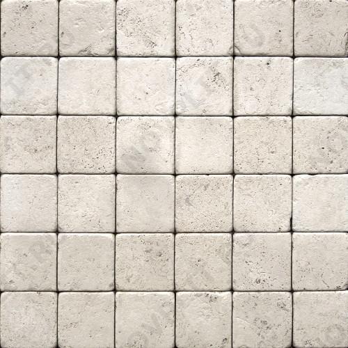 """Камень для пола """"Квадрат"""" доломит белый с бежевым - 50х50х20 мм, галтованный, пиленый с 6 сторон"""