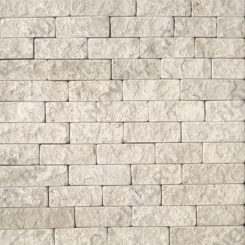 """Камень лапша """"Полоска"""" доломит белый с бежевым - 90хПогон мм, шуба, галтованный, пиленый с 5 сторон"""