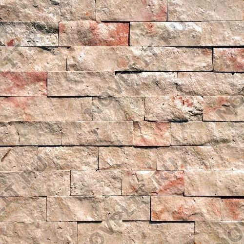 """Камень лапша """"Полоска"""" доломит кремовый с розовым - 60хПогон мм, шуба, пиленый с 5 сторон"""