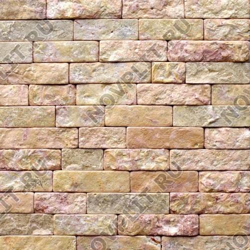 """Камень лапша """"Полоска"""" доломит желто-розовый """"персик"""" - 60хПогон мм, шуба, галтованный, пиленый с 5 сторон"""