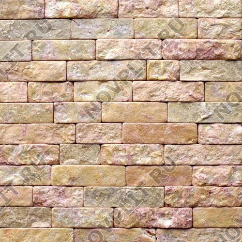 """Камень лапша """"Полоска"""" доломит желто-розовый """"персик"""" - 90хПогон мм, шуба, галтованный, пиленый с 5 сторон"""