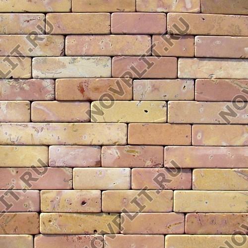 """Камень лапша """"Полоска"""" доломит желто-розовый """"персик"""" - 50хПогон мм, галтованный, пиленый с 6 сторон"""