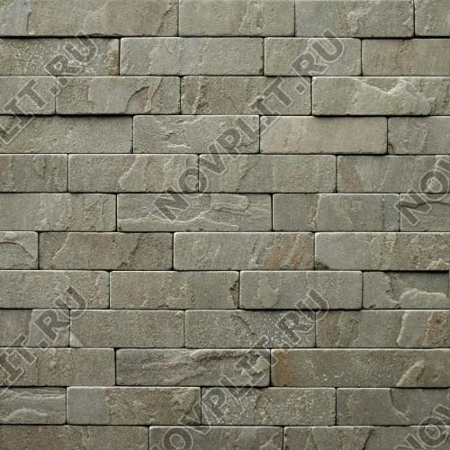 """Камень лапша """"Полоска"""" песчаник серо-зеленый - 90хПогон мм, шуба, галтованный, пиленый с 5 сторон"""