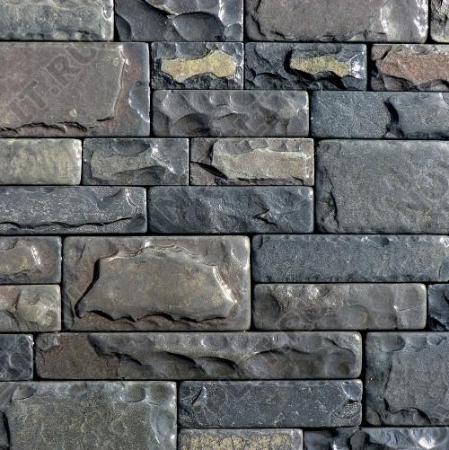 """Камень лапша """"Полоска"""" шунгит тёмно-серый (чёрный) - 60хПогон мм, со сколом, галтованный, пиленый с 5 сторон"""