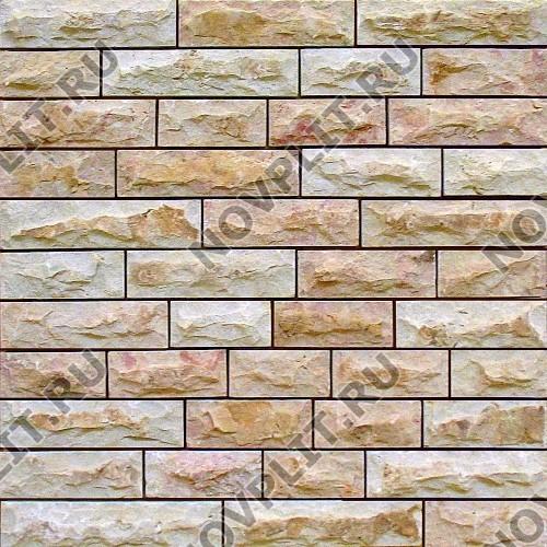 """Камень лапша """"Полоска"""" доломит кремовый с розовым - 60хПогон мм, со сколом, пиленый с 5 сторон"""